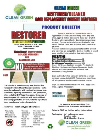 safe non corrosive Cleaner by  GREEN CLEAN SOLUTIONS RESTORER  CEMENT