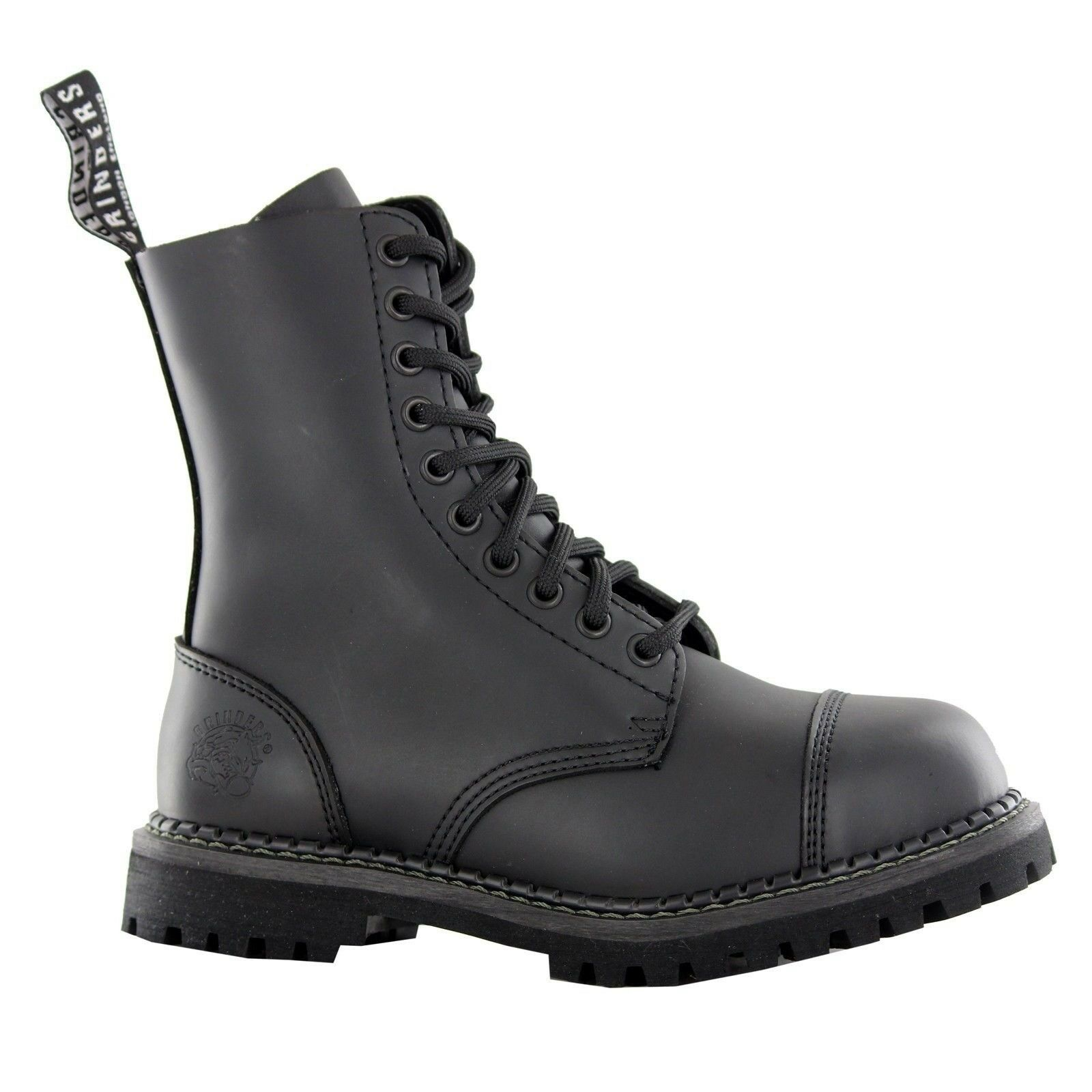 Grinders Stag Cs Derby Combat Boots Black Leather Safety Steel Cap Punk