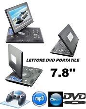 """7.8 """"Lettore DVD portatile da auto ricaricabile schermo girevole USB FM"""