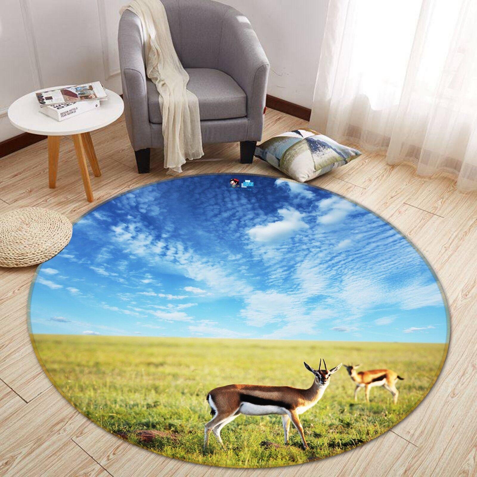 3D Deer Prairie 0002 Étage Antidérapant Natte Rond Élégant Tapis FR Summer