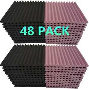48-Pack-Acoustic-Foam-Panel-1-034-X-12-034-X-12-034-Wedge-Studio-Soundproofing-Wall-Tiles