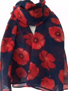 Wrap lovely material brand new shawl gift present Throw Blue poppy Long Scarf