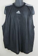 Adidas Vest Sleeveless Reversible Black White T Shirt Basketball Blue 3 Stripe M