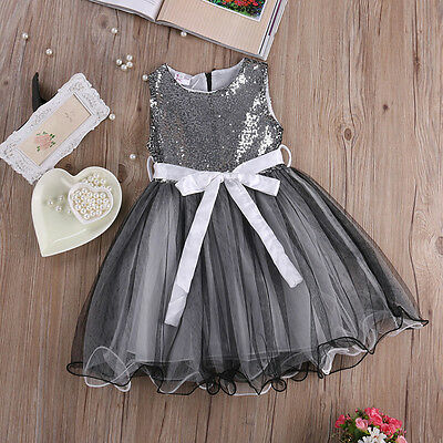 Baby Girls Princess Sequins Dress Sleeveless Party Wedding Pageant Formal Dress