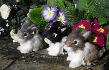 3er-Set-niedliche Kaninchen-Hasen-Felltiere-Kunstfell-Handarbeit-Tierminiatur