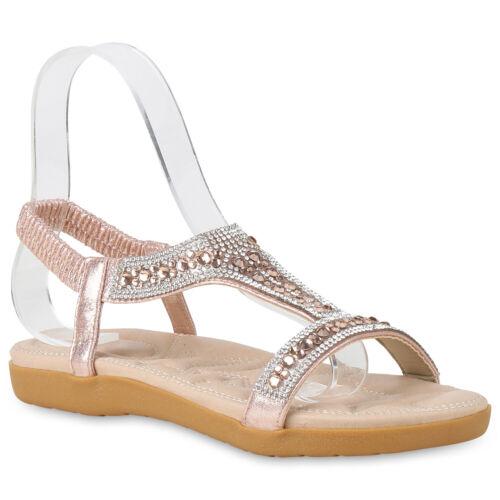 Damen Sandalen Riemchensandalen Strass Sommerschuhe Metallic Flats 826616 Schuhe