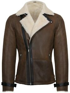 b48a5435ac1fd Image is loading Mens-Tan-German-Double-Breasted-Real-Sheepskin-Shearling-