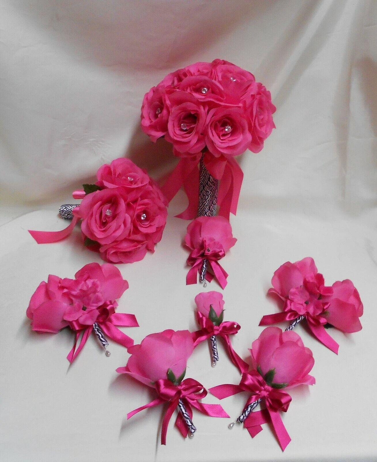 Fleurs en Soie Robe de Mariage Bouquet 18 Pcs Imprimé Zèbre Fuchsia Chaud Rose Clair