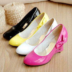 Women-039-s-Shoes-Shiny-Synthetic-Leather-Bowknot-Wedge-High-Heel-Pumps-AU-Size-S303