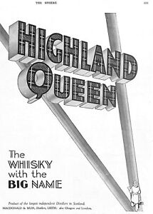 Highland-Queen-Whisky-Advert-1911-Vintage-Scotland-Genuine-Art-Scotland-Genuine