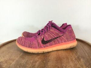 Nike-Free-Run-Flynit-GS-Running-Sneaker-Shoes-834363-601-Pink-Purple-Sz-6-Womens
