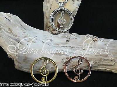 LARGE COIN/MONEDA TREBLE CLEF/MUSIC FOR GENUINE MI MILANO NECKLACE/KEEPER/LOCKET