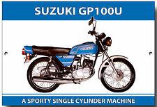 SUZUKI GP100U ENAMELLED METAL SIGN.VINTAGE JAPANESE MOTORCYCLES.