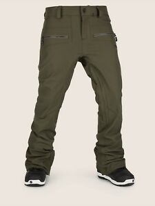 2019-NWT-WOMENS-VOLCOM-IRON-STRETCH-PANT-XL-Forest-dropped-rise-tapered-fit