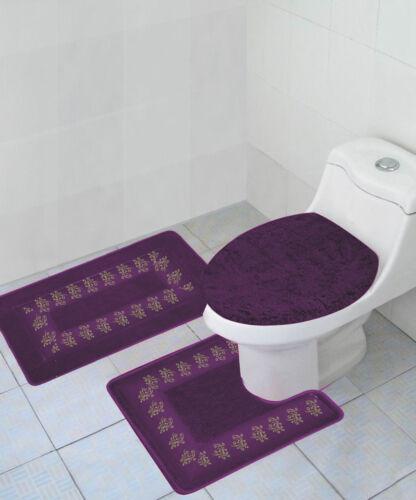 3PC #5 PURPLE BATHROOM SET CONTOUR TOILET LID COVER MATS RUGS EMBROIDERY