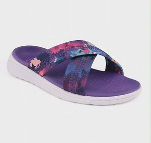 67da0f36bc8 Girl s Champion Malvina Slides Sandals Sz L 4 5 C9 Purple Cross Band ...
