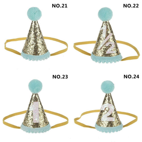 Baby Crown Birthday Hat Party Pom Ball Hairband 1st-3rd Pointed Cap Fabric Mini