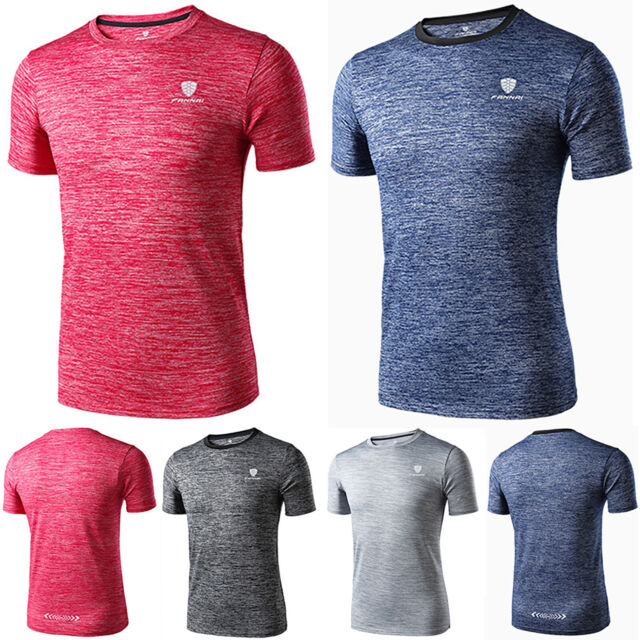 Men Muscle Short Sleeve T-shirt Quick Dry Sports Basic Tee Slim Fit Running Tops