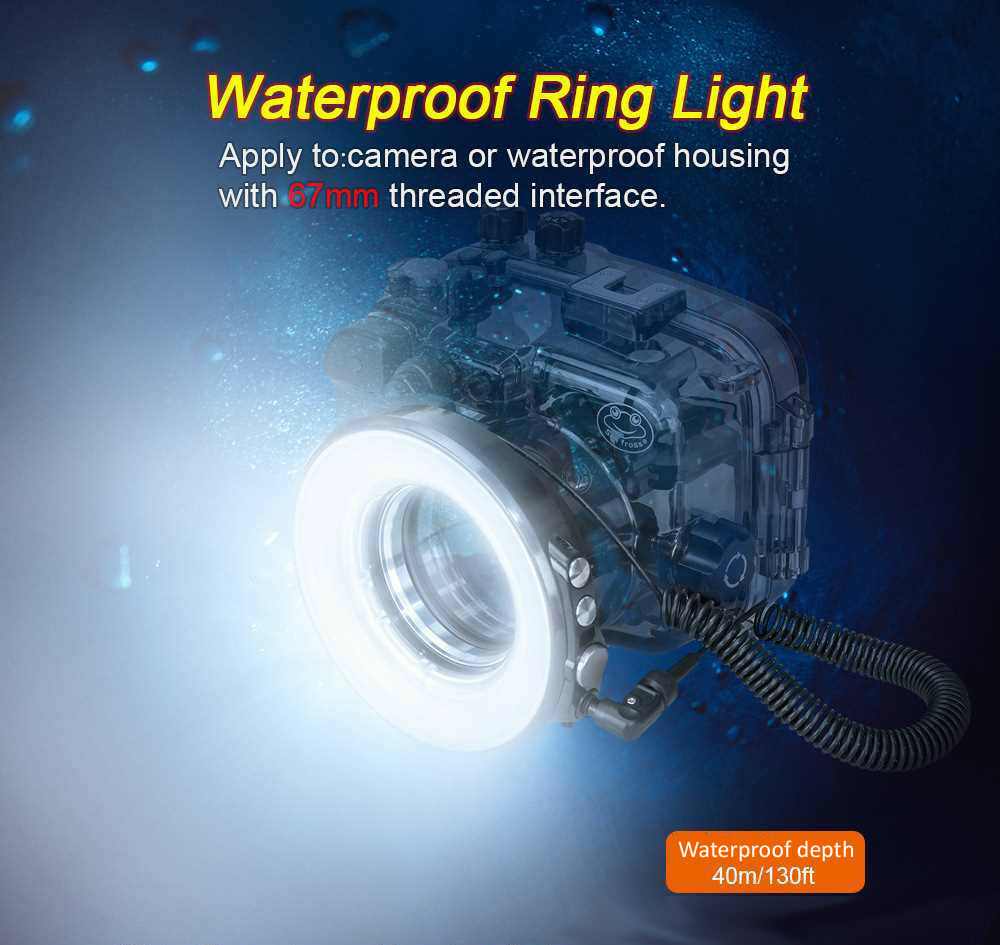 Camera Flash Light Waterproof Underwater Diving LED Ring Flash Light for Camera Or Housing Case,SL-108 67mm