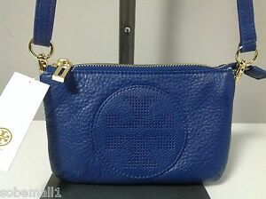 Tory Burch Kipp Small Blue Nile Leather Crossbody Bag 887712807383 ... 83c95acb9