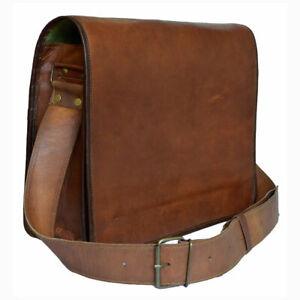 En-Cuir-Marron-Sac-Messenger-epaule-Sac-d-039-Ordinateur-Portable-Mallette-Homme-Authentique-Vintage