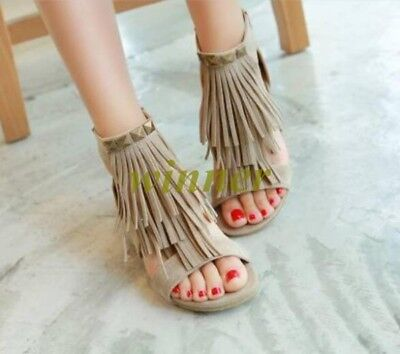 Womens Peep Toe Tassels Fringe Block Summer Boots Sandals Casual Shoes All Size