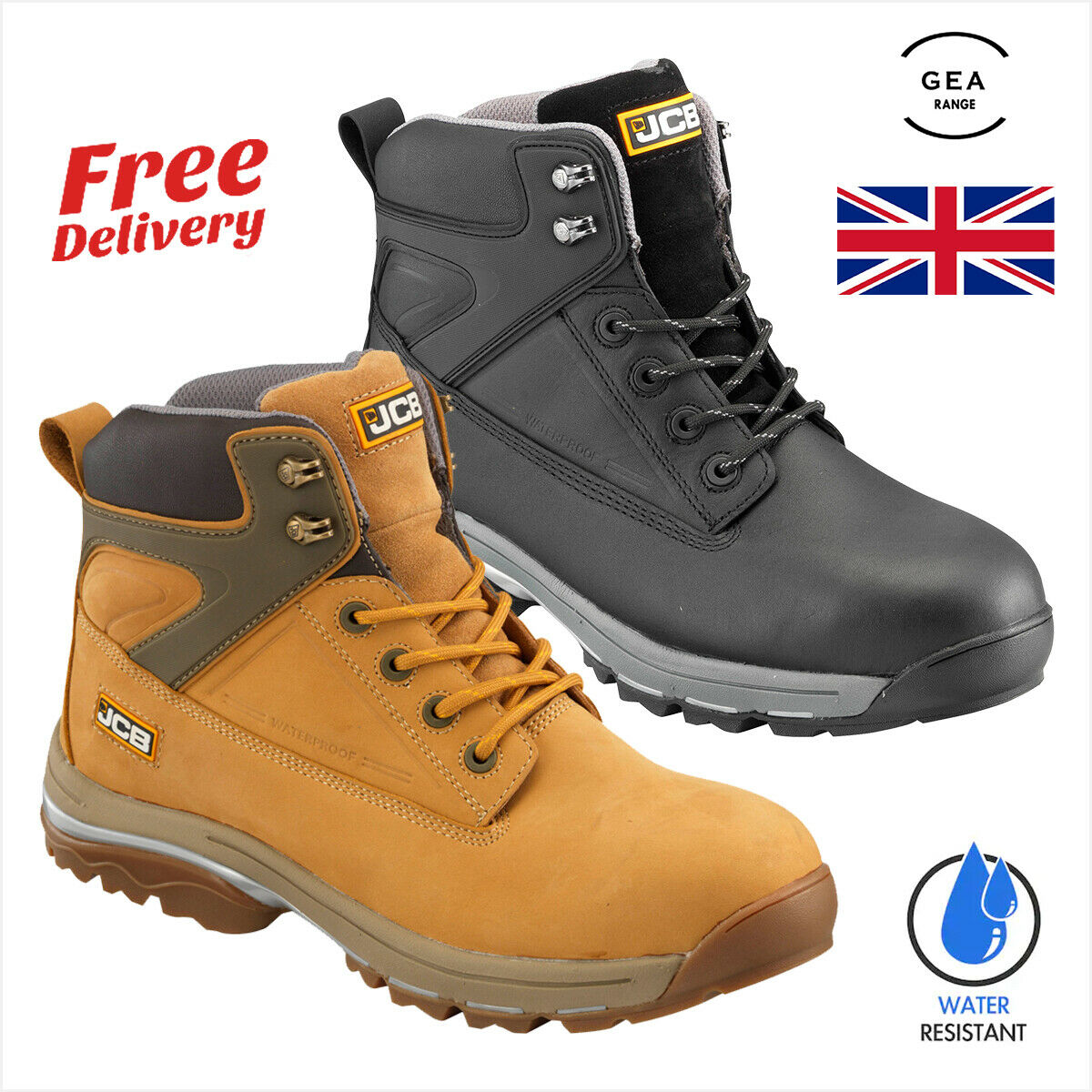 JCB UK Fast Track Safety Work Boots Men Steel Toe Cap Shoe Waterproof Protection