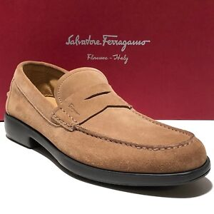 ff2e0745573 Ferragamo Brown Suede Tan Leather Penny 8.5 Men s Dress Loafers ...