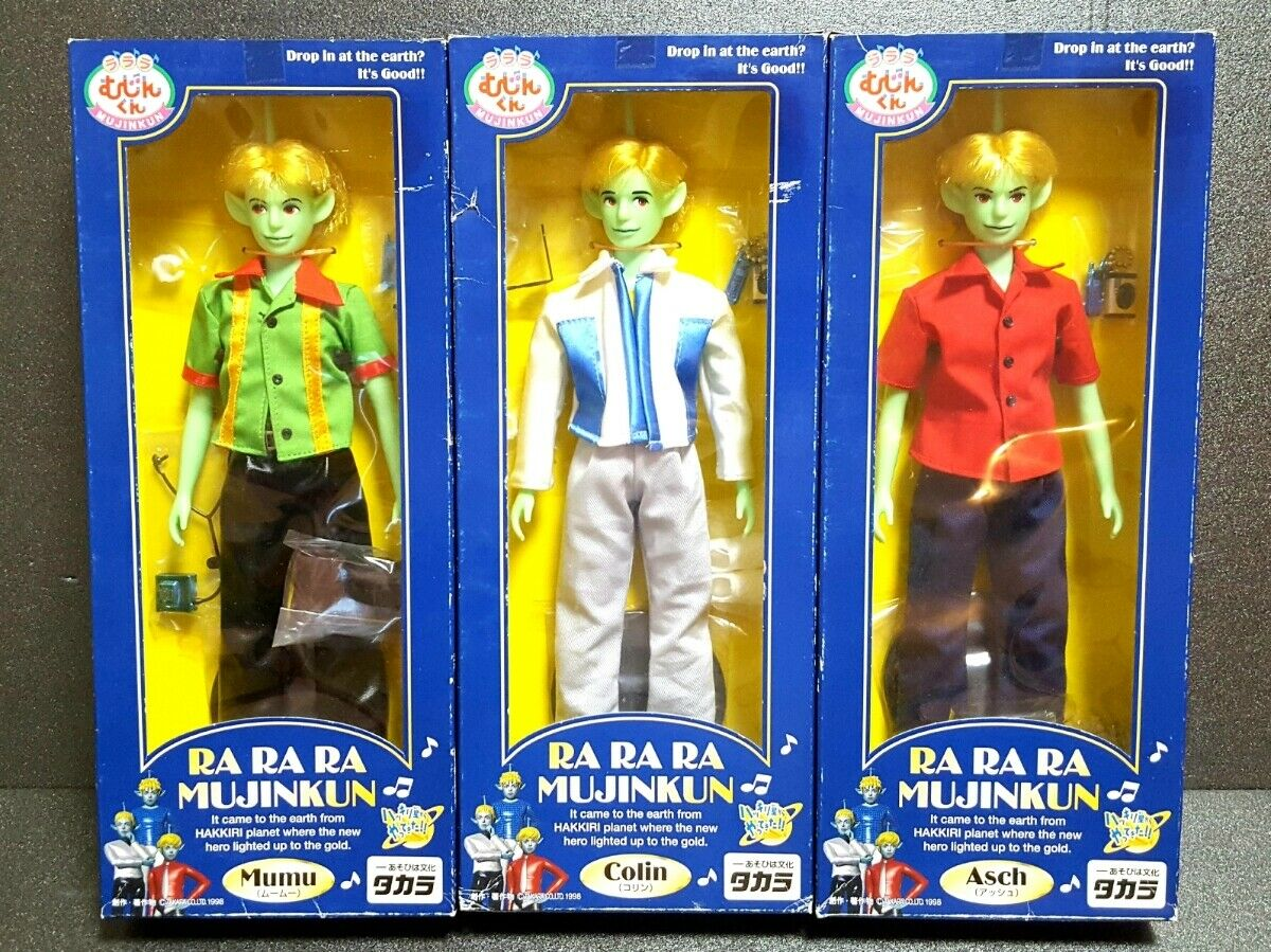 Ra ra ra mujinkun Mumu & Colin & Asch Character Doll en Caja Conjunto de 3 Takara 1998