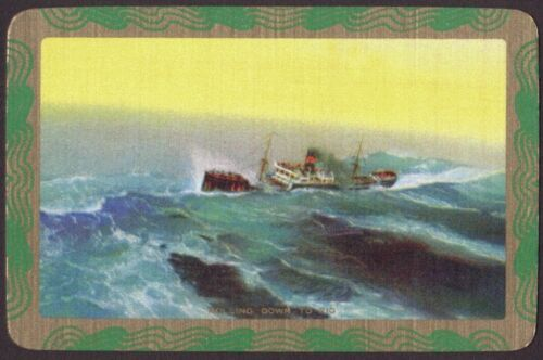 Details about  /Playing Cards Single Card Old Vintage Named ROLLING DOWN TO RIO Stormy Seas Ship