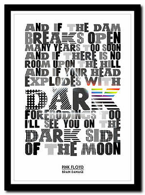 PINK FLOYD - Brain Damage - moon - lyric poster ❤ typography art print - 4 sizes