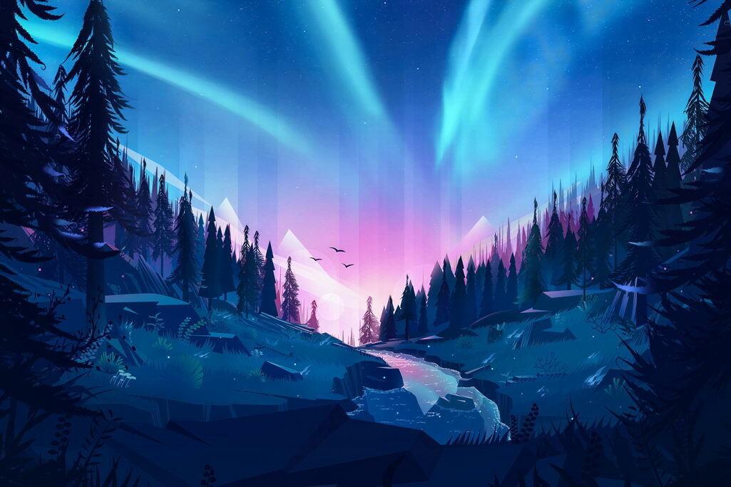 G0079 Auroral Forest Northern Lights Art Laminated Poster AU