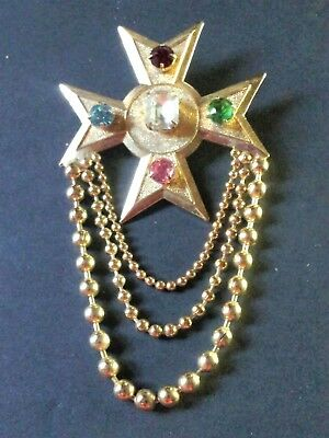 Designer Costume  jewelry Vintage  Pin  Brooch Unsigned Designer  Maltese Cross  Crystal Glass  Gold Tone Broach pin