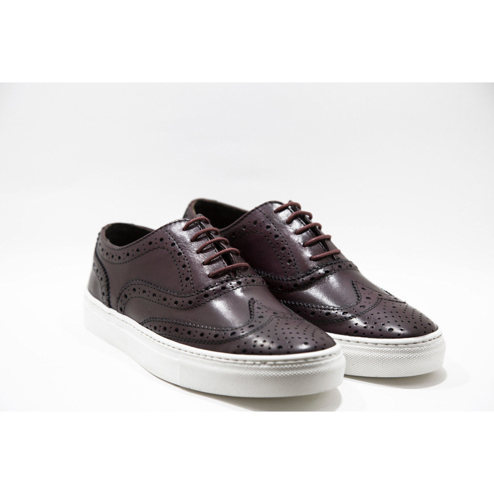 Sneakers in Pelle Stringate Oxford Artigianale men Bordeaux shoes Lace-up