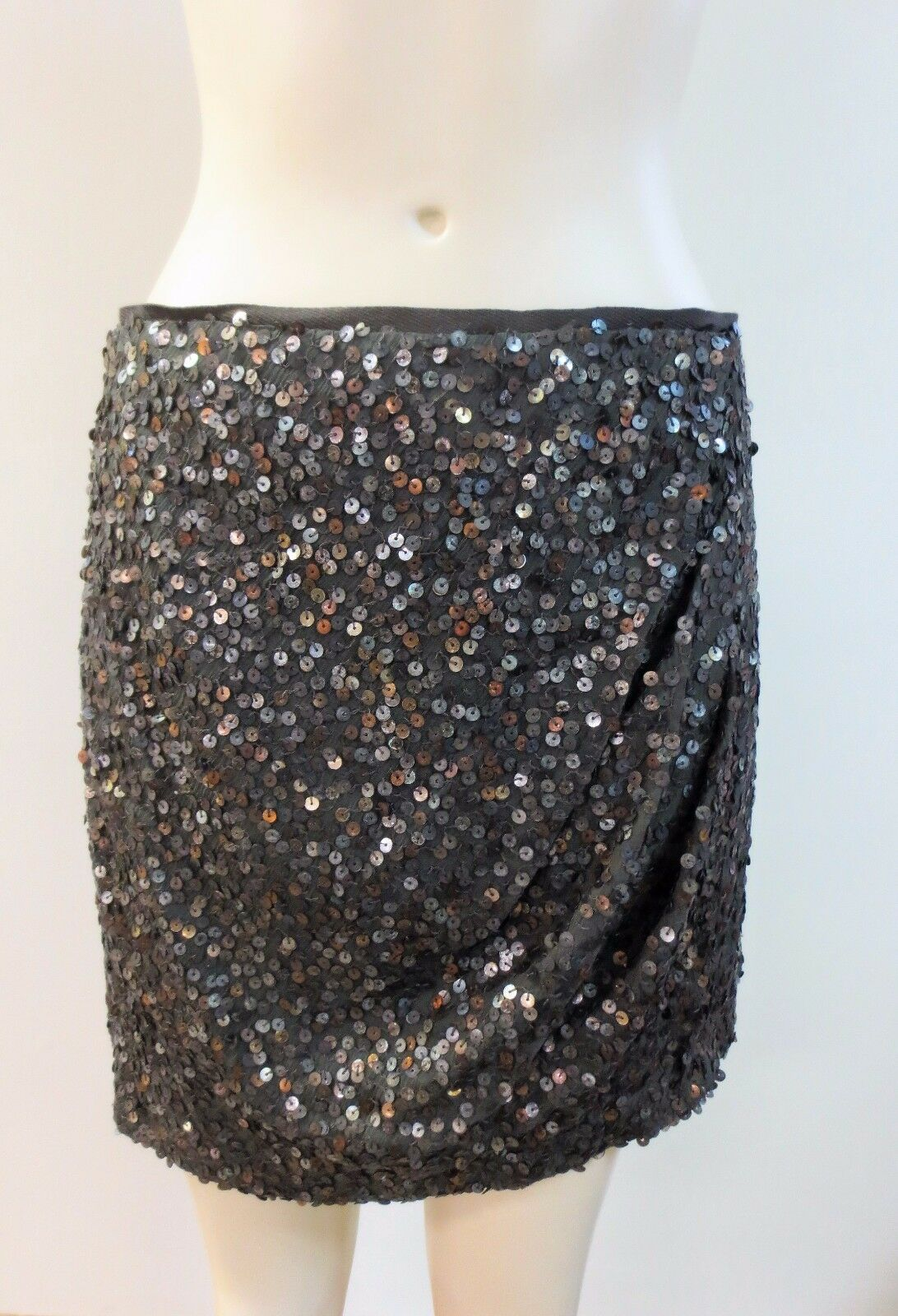 NANETTE LEPORE, Brown Sequin Silk Skirt Sz 4, EUC
