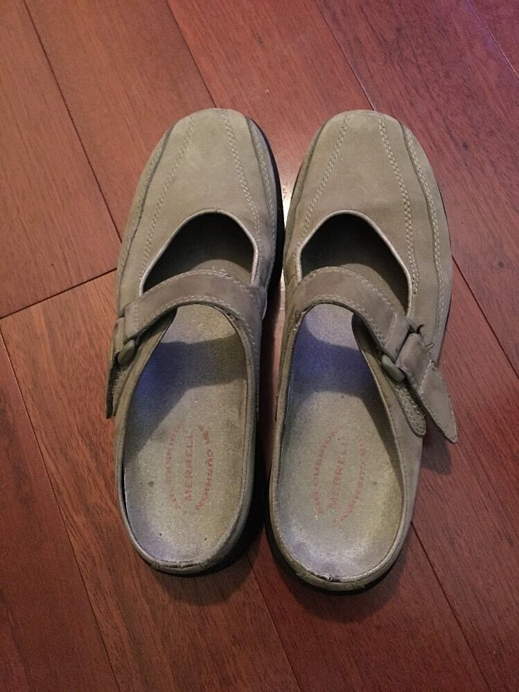 Merrell Leather Suede Mules Mary Jane  Velcro Womens Size 7 TOPO CLUTCH SAND