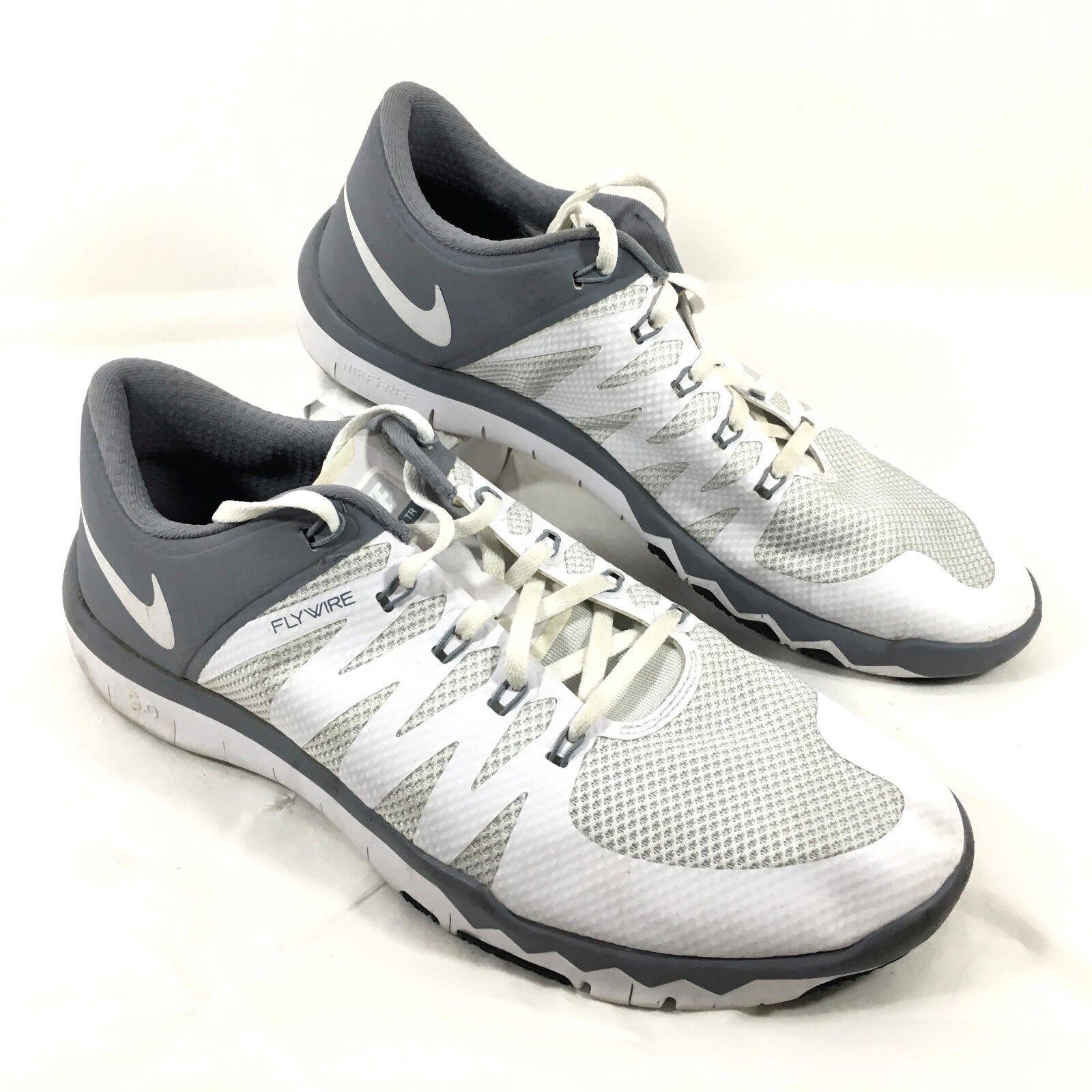 GUC Men's Free Nike Flywire Free Men's 5.0 TR Running Shoes White Gray Sz 11.5 M 27564f