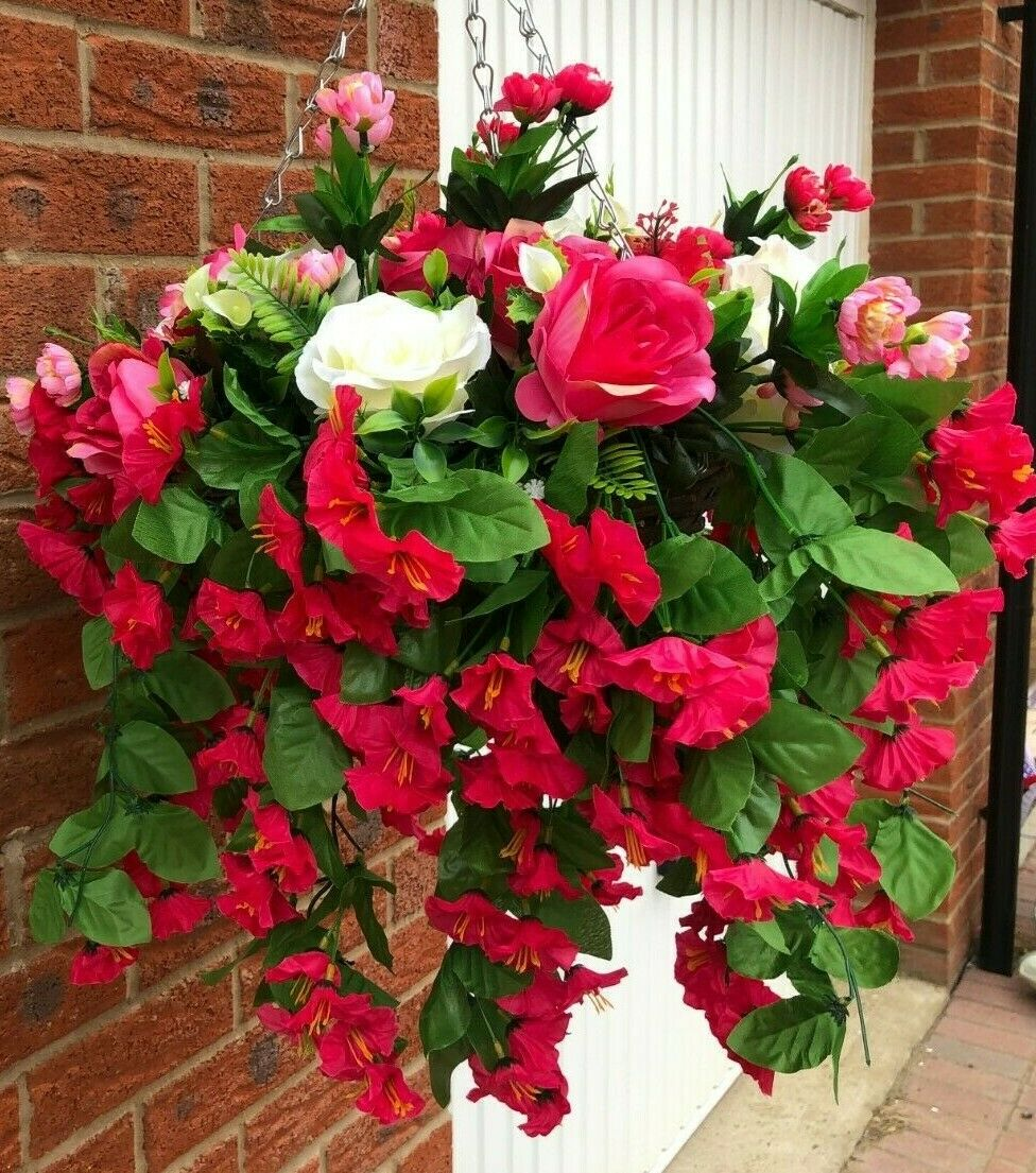 Hanging basket artificial flowers trailing morning glory pink roses hand made