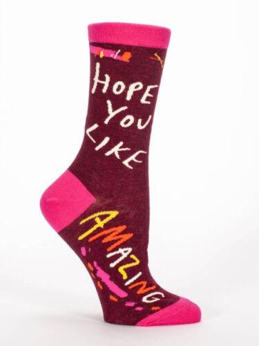 Funny Cotton Hope You Like Amazing Novelty Women/'s Crew socks Gifts Blue Q