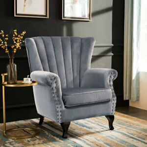 Magnificent Details About Wing Back Home Reception Accent Chair Velvet Padded Large Seat Armchairs Sofa Uk Pdpeps Interior Chair Design Pdpepsorg