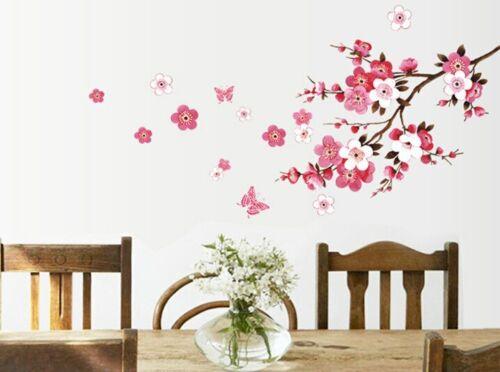 Wall Sticker Autocollant Mural Papillons Fond D/'écran Fleur De Pêche Imperméable