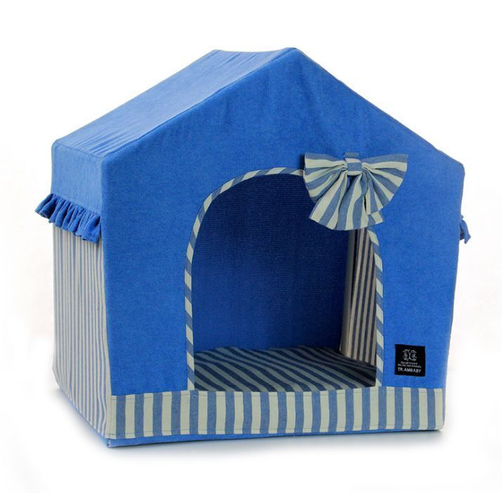 Fashion bluee Red Pet Dog Cat Bed House Sofa Tent Frame Bed Indoor House Kennel M