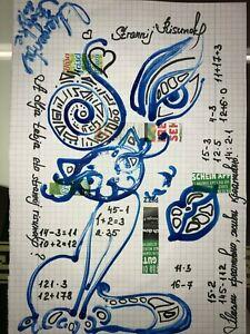 ORIGINAL-katze-MALEREI-PAINTING-zeichnung-cat-frau-women-contemporary-art-A4-POP