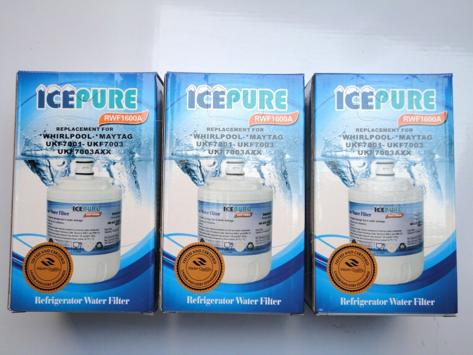 Three replacement Maytag UKF7003 compatible fridge water filters