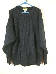 EDDIE-BAUER-Wool-Blend-Men-039-s-SWEATER-Cable-Knit-ENGLAND-Gray-Black-Sz-TALL-Lrg