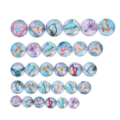 50Pcs//Lots Mixed Butterfly Glass Cabochon Flatback Spacers DIY Making Findin FD