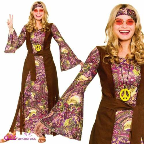 Ladies Summer Of Love Maxi Dress Adult Hippie Festival 60/'s Fancy Dress Outfit