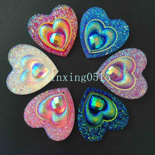 DIY 10PCS 30mm AB Resin heart shape Rhinestone Flatback Wedding 2 Hole Buttons