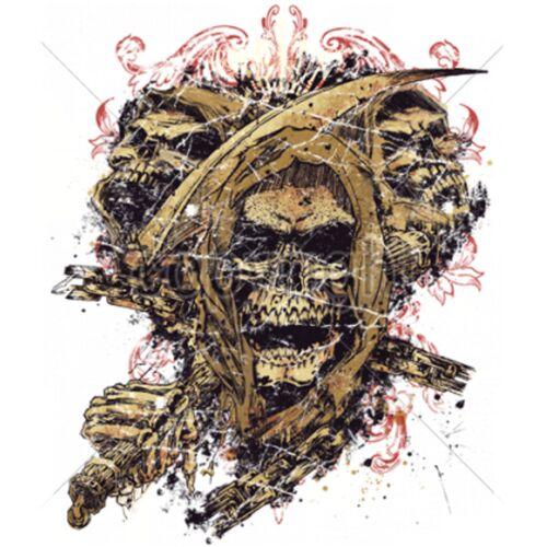/& Tatouage Motif Modèle Screamer T Shirt en Noir SKULL TETE DE MORT GOTHIK Biker