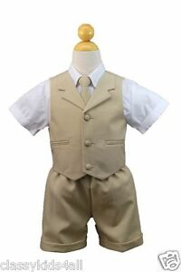 Stone Khaki Boy Infant /& Toddler Formal Wedding Party Vest Suit New born to 4T
